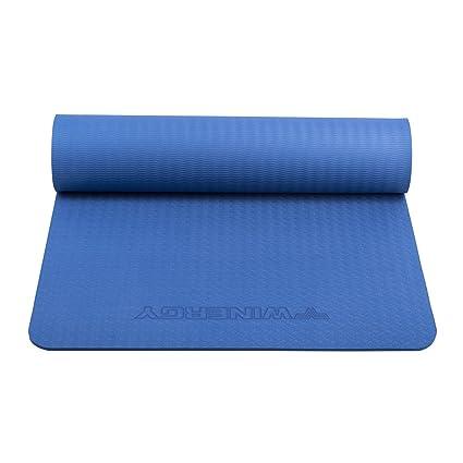 Joymoze Tapete para Ejercicios y Yoga, Eco-amigable, TPE de Alta Densidad, Extra Grueso 8mm, Largo 183cm, Ancho 61cm, para Deportes y Exteriores Azul 001