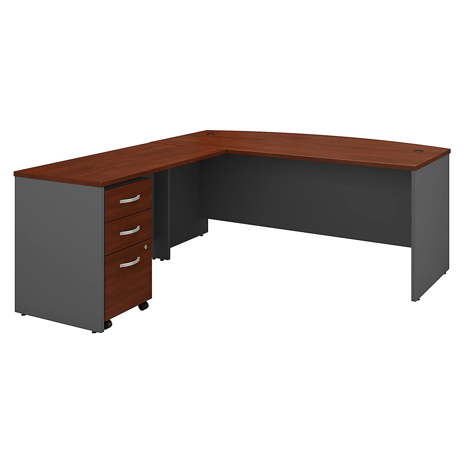 Bush Business Furniture Series C 72W Bow Front L Shaped Desk with 48W Return and Mobile File Cabinet in Hansen Cherry