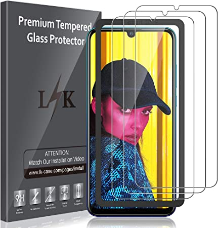 Imagen deLK Protector de Pantalla para Huawei P Smart 2019 / Honor 10 Lite Vidrio Templado, [3 Unidades] [9H Dureza] [Equipado con Marco de posicionamiento] Screen Protector Cristal Templado