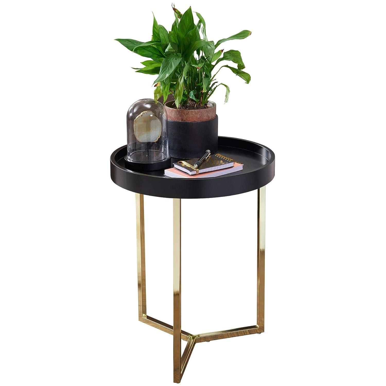 FineBuy Design Beistelltisch Evi 40 x 51 x 40 cm Couchtisch rund schwarz/Gold | Designer Wohnzimmertisch modern | Kleiner Sofatisch mit Metallgestell | Runder Tabletttisch mit Holz-Platte