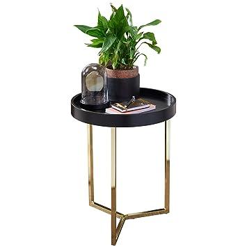 FineBuy Design Beistelltisch Evi 40 X 51 X 40 Cm Couchtisch Rund  Schwarz/Gold |