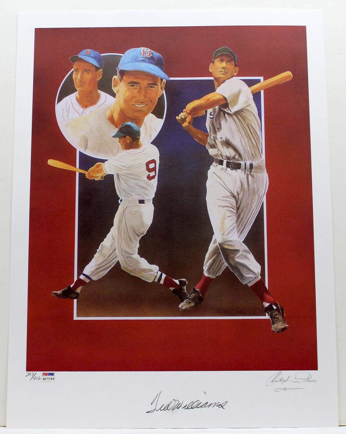 c33f4cdb1b1 TED WILLIAMS SIGNED CHRISTOPHER PALUSO 20x24 LITHOGRAPH GRADED 10 B27086 -  PSA DNA Certified - Autographed MLB Art at Amazon s Sports Collectibles  Store