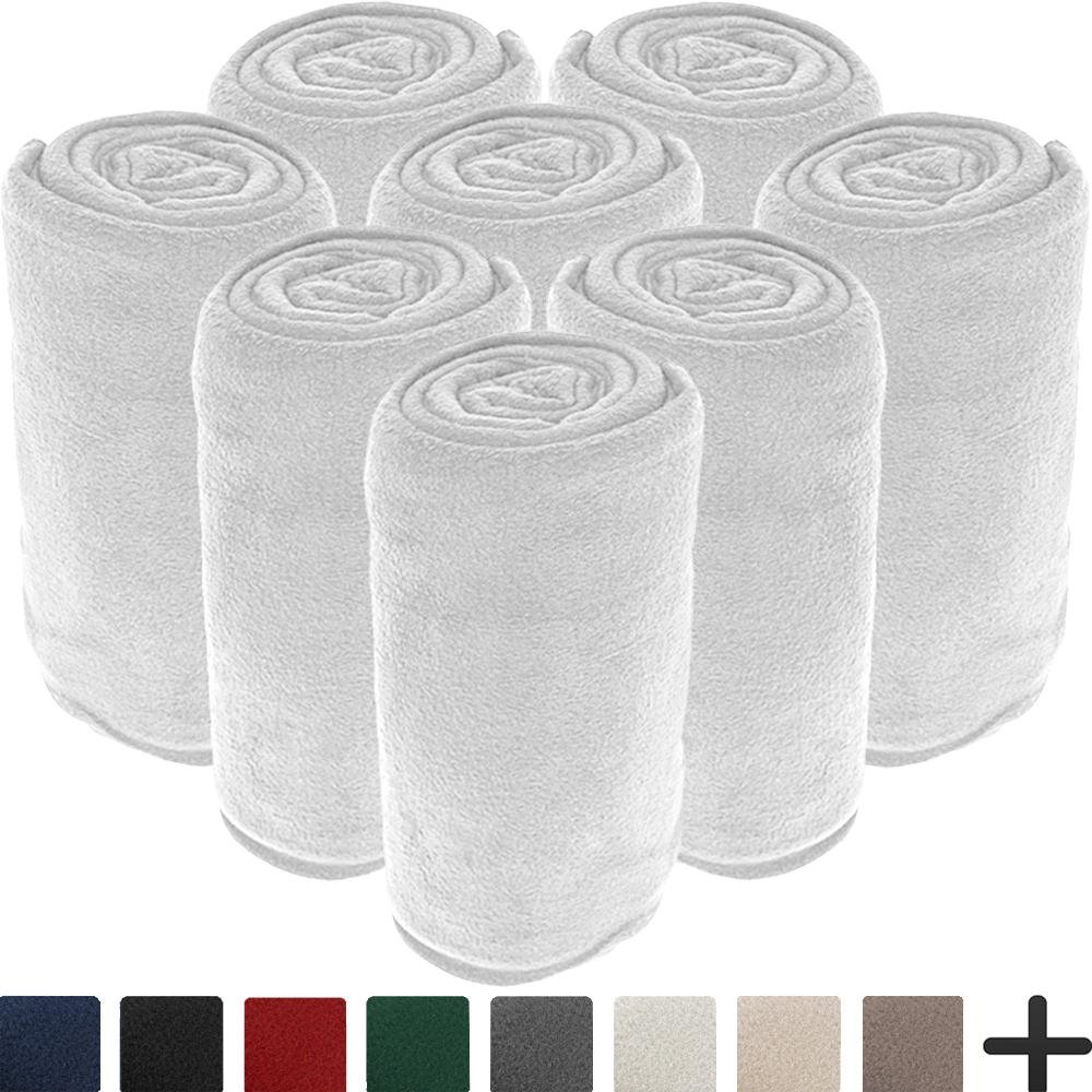 8 Pack Microplush Blankets - Ultra-Soft Velvet - Luxurious Fuzzy Fleece Fur - All Season Premium Bed Blanket - Wholesale Bulk Pack (Twin/Twin XL, White)
