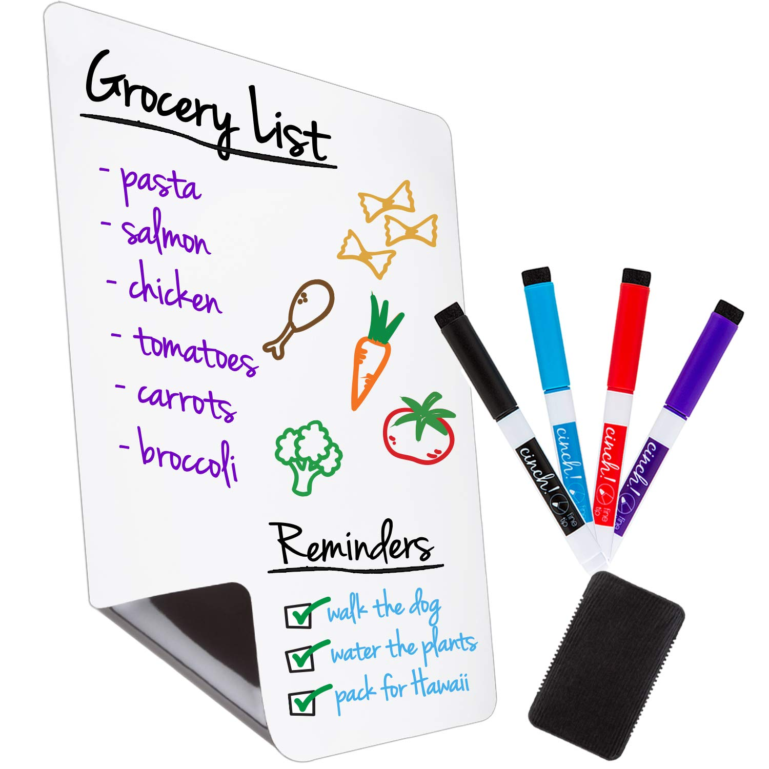 "Magnetic Dry Erase Whiteboard Sheet for Kitchen Fridge: with Stain Resistant Technology - 12x8"" - Includes 4 Markers and Big Eraser with Magnets - Refrigerator Grocery List White Board Organizer"