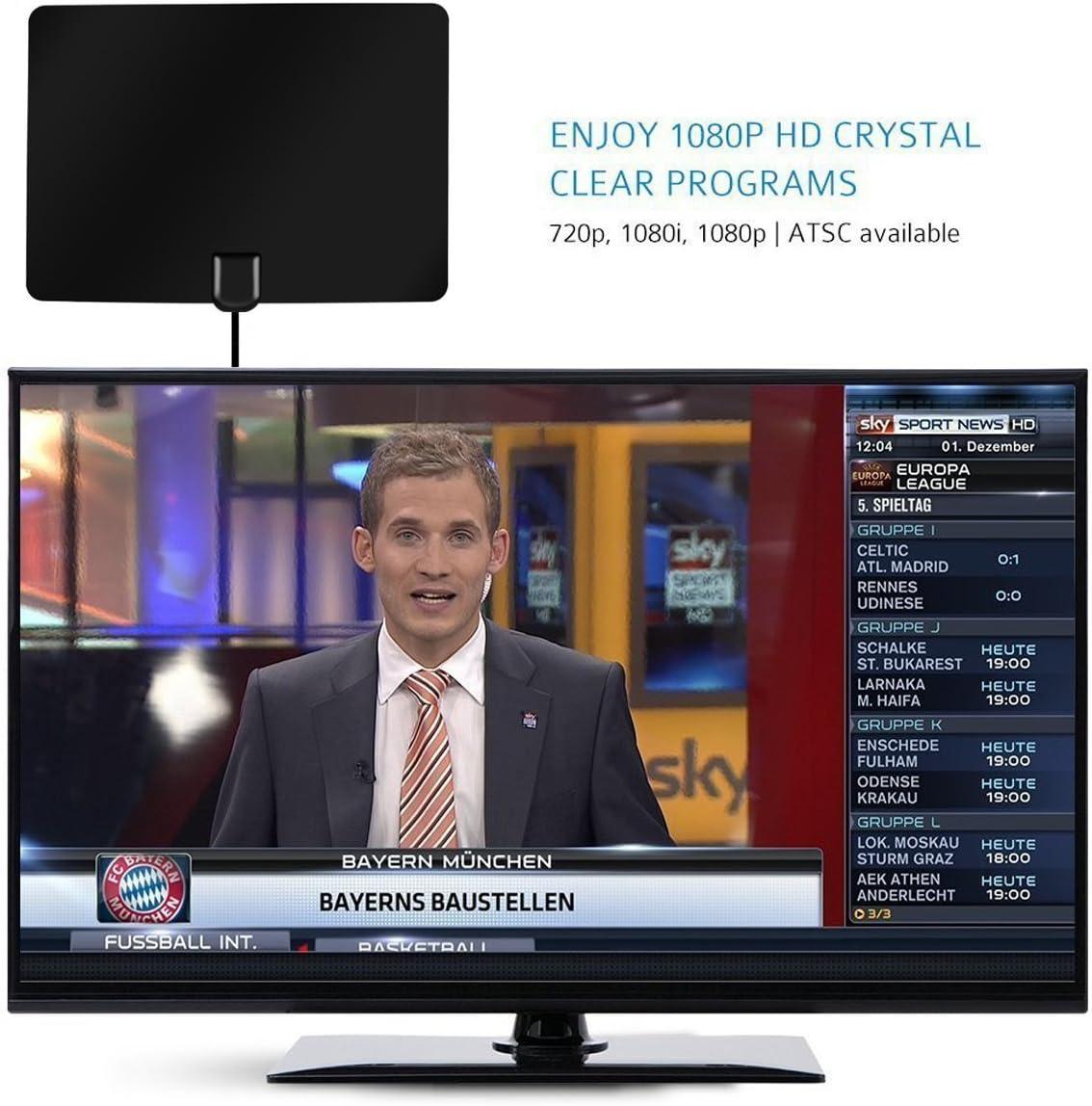 Antena de TV Interior,Bestlinktech Amplificador Antena Digital HDTV,50 Millas Gama de Recepción, 5M Cable Alto Rendimiento,Ultra Delgado Amplificador de Señal Removible: Amazon.es: Electrónica
