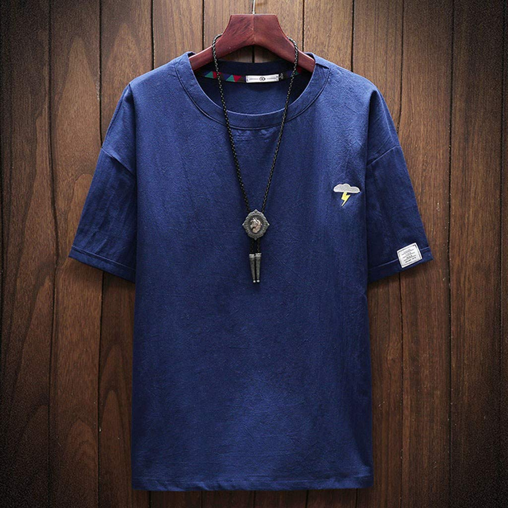WYTong Men's Loose-Fit Short Sleeve Pullover Summer Casual Simple Solid Color Short Sleeve Top by WYTong (Image #2)
