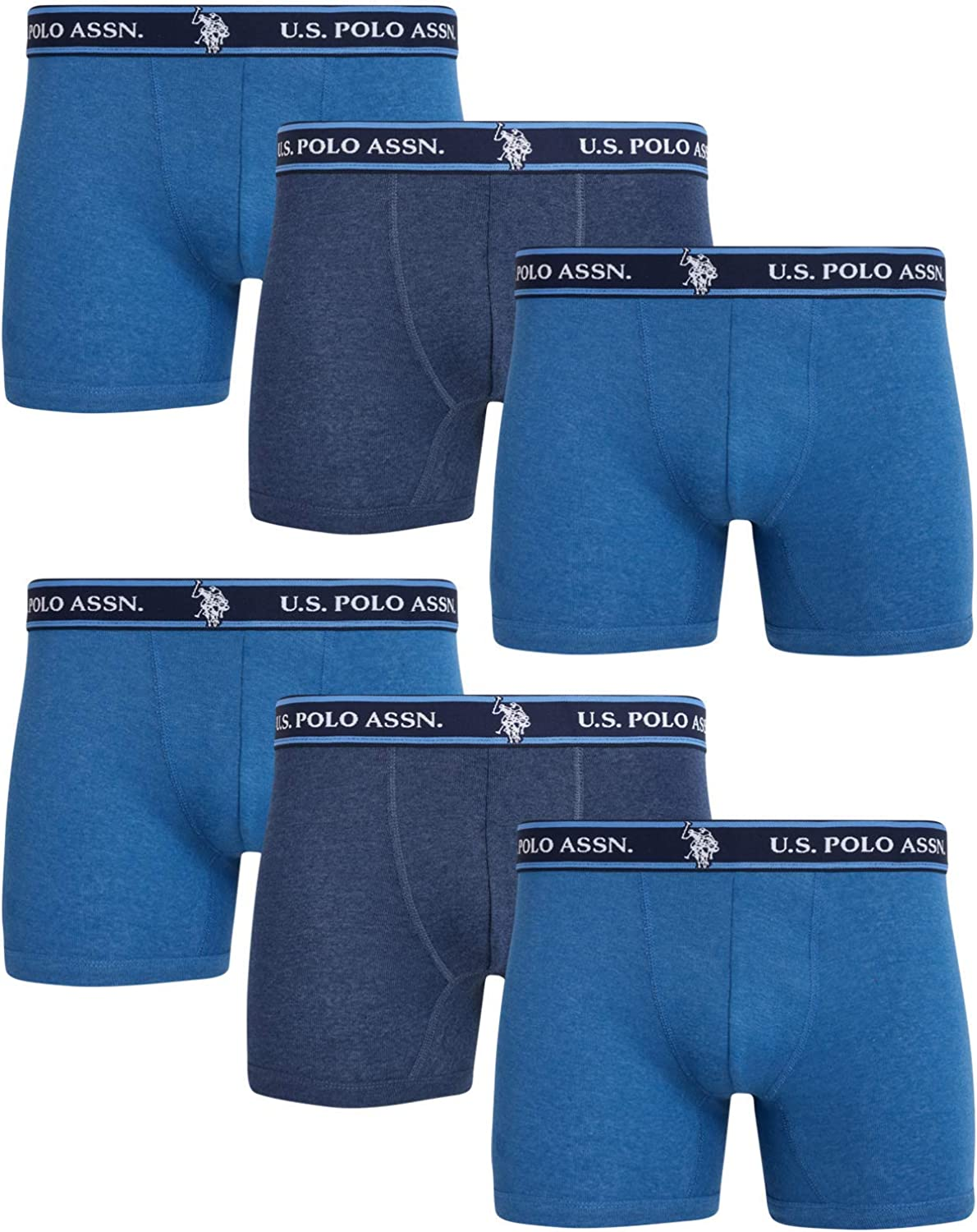 U.S. Polo Assn. Men's Cotton No Fly Boxer Briefs with Comfort Pouch (6 Pack)