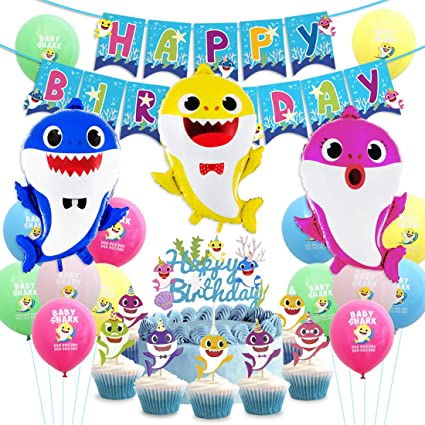 Meuparty Shark Party Supplies Birthday Decorations Shark Balloons Cupcake Topper Happy Birthday Banner for 1st 2nd Birthday