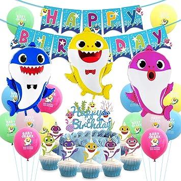 Kreatwow Suministros para Fiestas de Tiburones Decoraciones de cumpleaños Globos de tiburón Cupcake Topper Banner de Feliz cumpleaños para el Primer y ...