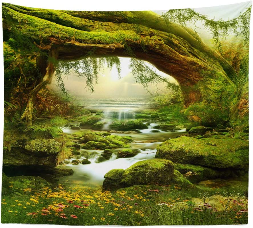 "BOYOUTH Tapestry Wall Hanging,Fantastic Forest Scenery of Green Teclining Trees Pattern Digital Print Wall Tapestry Art Home Decor for Living Room Bedroom Dorm,78.7"" Wide by 59.1"" High"