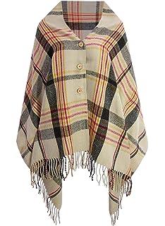 c1d050b2d0 Doballa Women s Plaid Pattern Tassel Button Down Poncho Cape Cardigan Wrap  Shawl