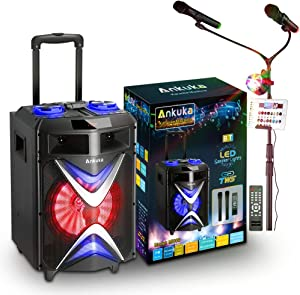 Portable Karaoke Machine for Adults and Kids, Ankuka Bluetooth PA Speaker Sound System with USB Disco Lights, 2 Wireless Microphones and Microphone Stand for Party Karaoke, Gifts for Boys and Girls