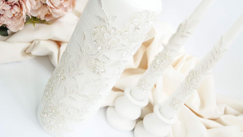 Lace Unity Candle Set for Wedding Set of 3
