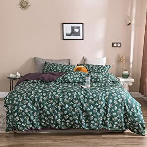 EAVD Garden Style Botanical Floral Duvet Cover Green Queen Ultra-Soft 100% Cotton Bedding Duvet Cover with 2 Pillowcases Modern Floral Bedding Set with Zipper Closure Durable&Lightweight