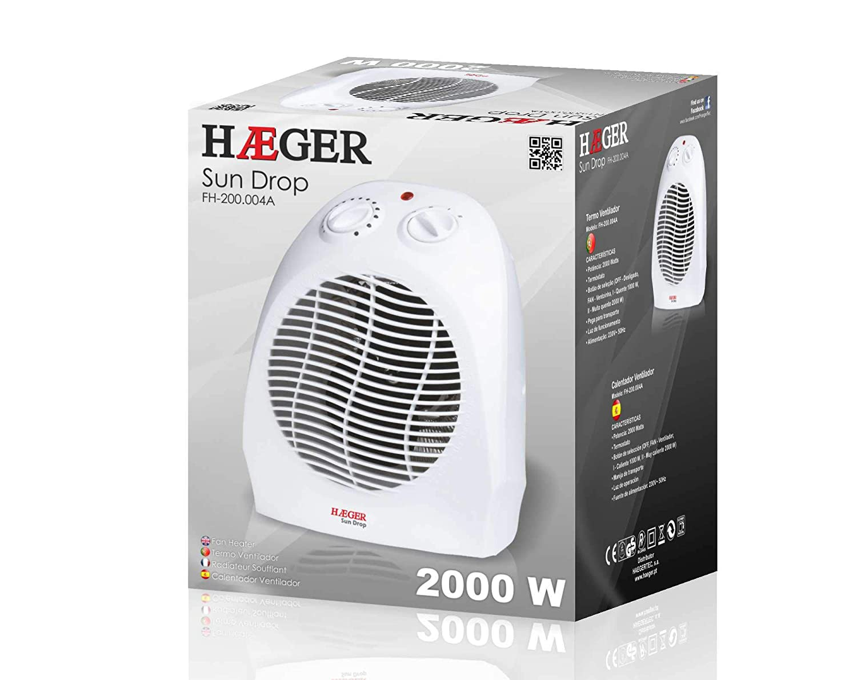 Termoventilador de 2000 W de Potencia con Bot/ón de selecci/ón Off, Fan - Ventilador, I - 1000W, II - 2000W HAEGER Sun Drop y Termostato Regulable