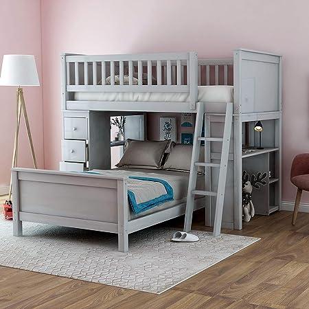 WeYoung Loft cama doble con cajones de almacenamiento y escaleras para niños, sistema de desván doble sobre litera de madera con escalera: Amazon.es: Hogar