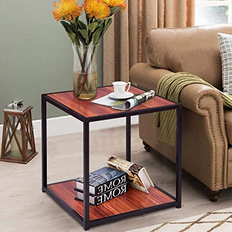 huge discount c211d e208a Tangkula End Table 20'' Wood Square Sofa Couch Side Table Home Living Room  Night Stand Snack Table End Coffee Table with Bottom Shelf (1 PC)