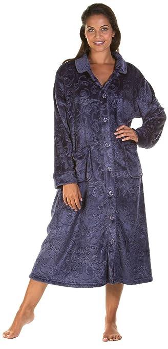 Lady Olga Soft Feel Embossed Fleece Nightwear in 3 Styles Zip Gown ... ee6fee533