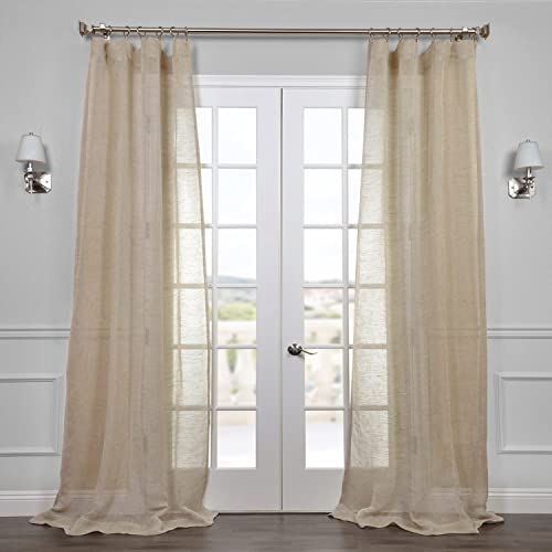 HPD Half Price Drapes SHLNCH-J0106-108 Linen Sheer Curtain 1 Panel , 50 X 108, Open Weave Natural