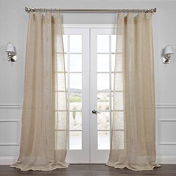 Half Price Drapes SHLNCH J0106 108 Linen Sheer Curtain, Open Weave Natural