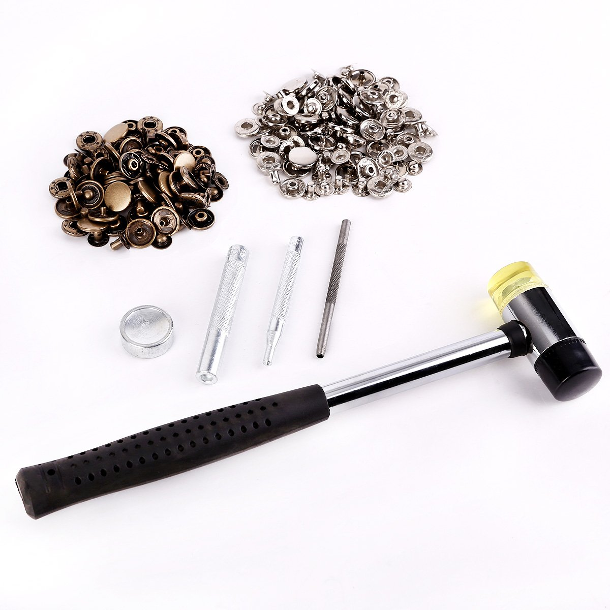 60 Metal Poppers Snap Clasp Fasteners Press Stud Kit Leather Craft Jacket Button 15mm Silver Bronze