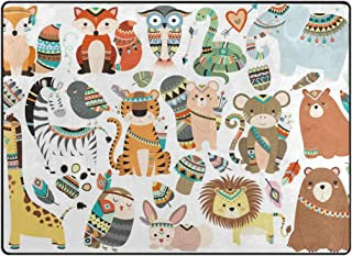 Vantaso Soft Foam Area Rugs Tribal Animals Bear Fox Non Slip Play Mats for Kids Boys Girls Playing Room Living Room 80x58 inch