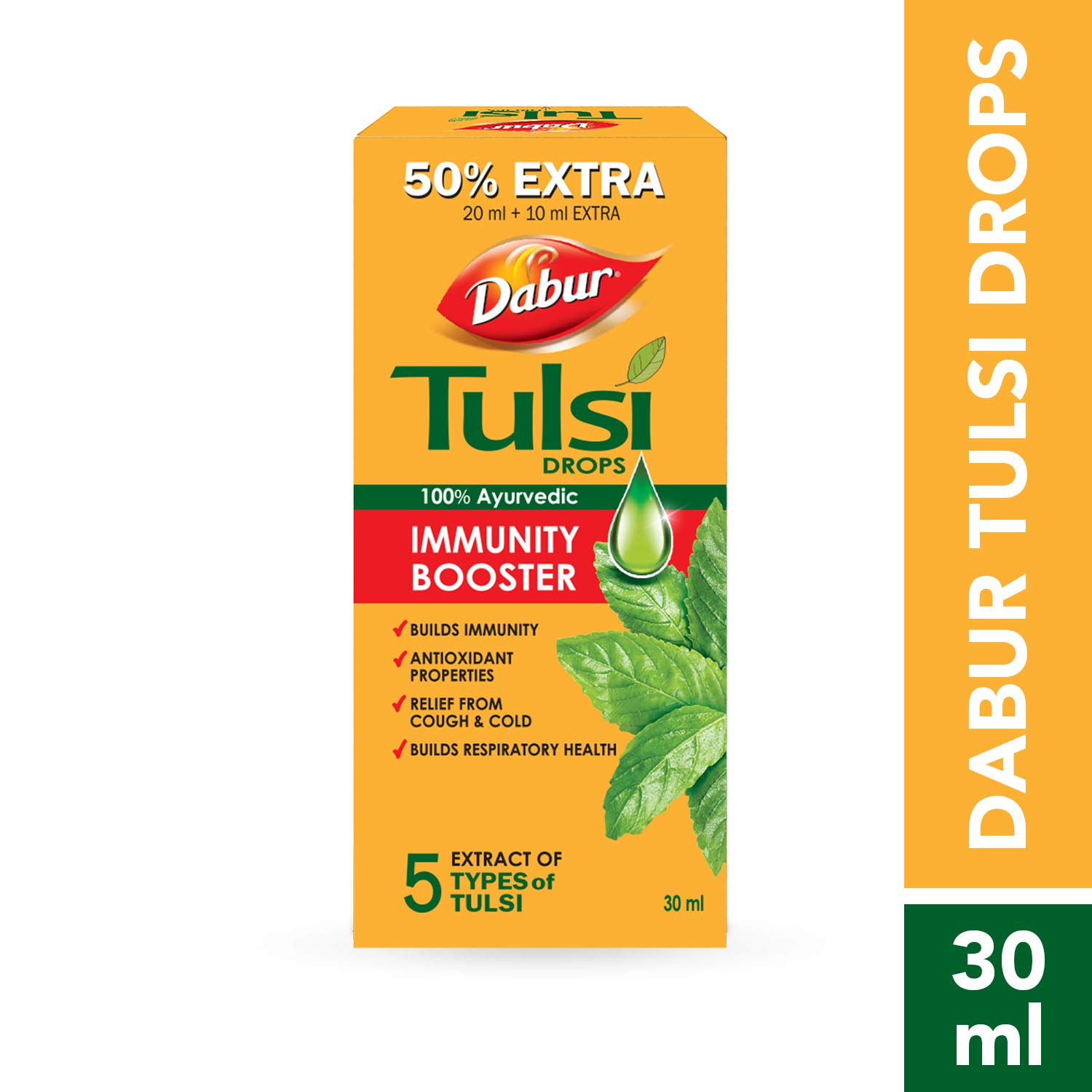 DABUR Tulsi Drops- 50% Extra: Concentrated Extract of 5 Rare Tulsi for Natural Immunity Boosting & Cough and cold Relief: (20ml +10ml Free)