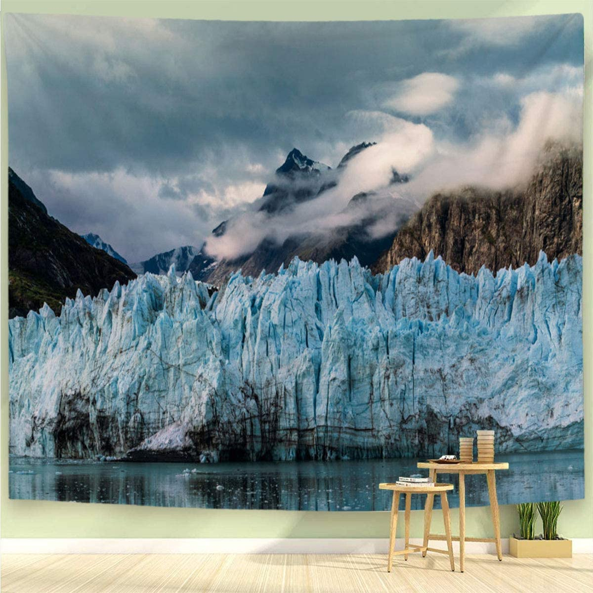 BEIVIVI Mountain Tapestry Colorful Art Design Tapestry Harvard Glacier in Front of A Cloud Covered Mountain Peak Polyester Fabric Tapestries for Bedroom Living Room Dorm,6040in