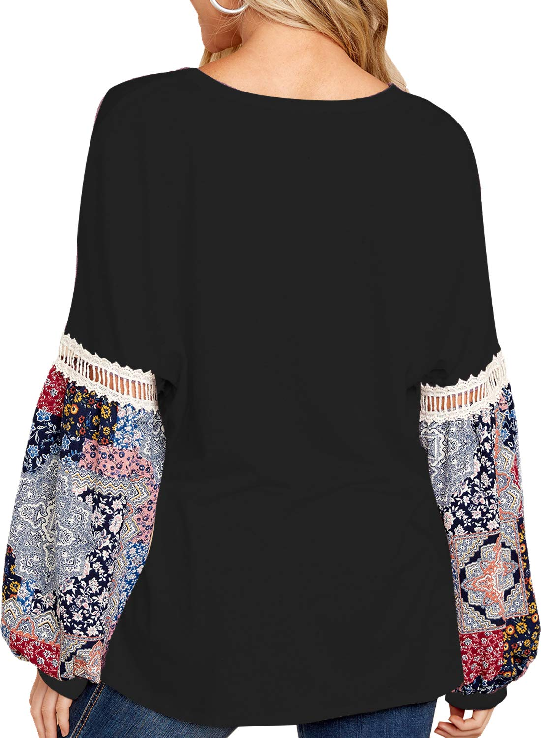 FARYSAYS Women's Autumn V Neck Long Sleeve Floral Patchwork Loose Fit T-Shirts Tops Blouse Black Medium by FARYSAYS (Image #2)