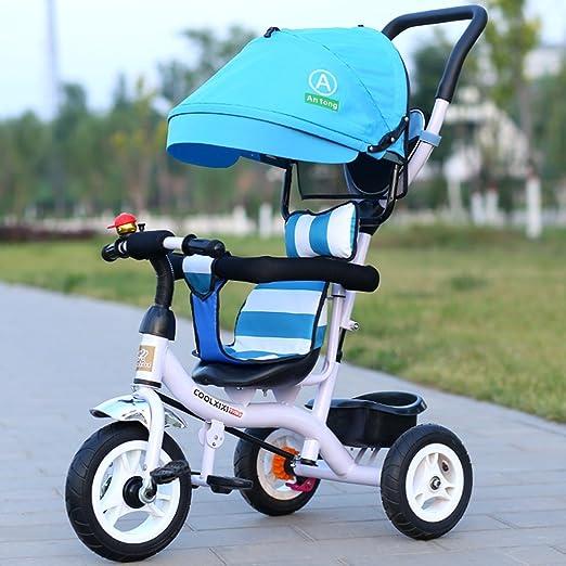 Guo shop- Niño triciclo mano empuje pequeño triciclo bicicleta coche de juguete Walker 1-3-6 años de edad niño bebé bicicleta bicicletas para niños: Amazon.es: Jardín