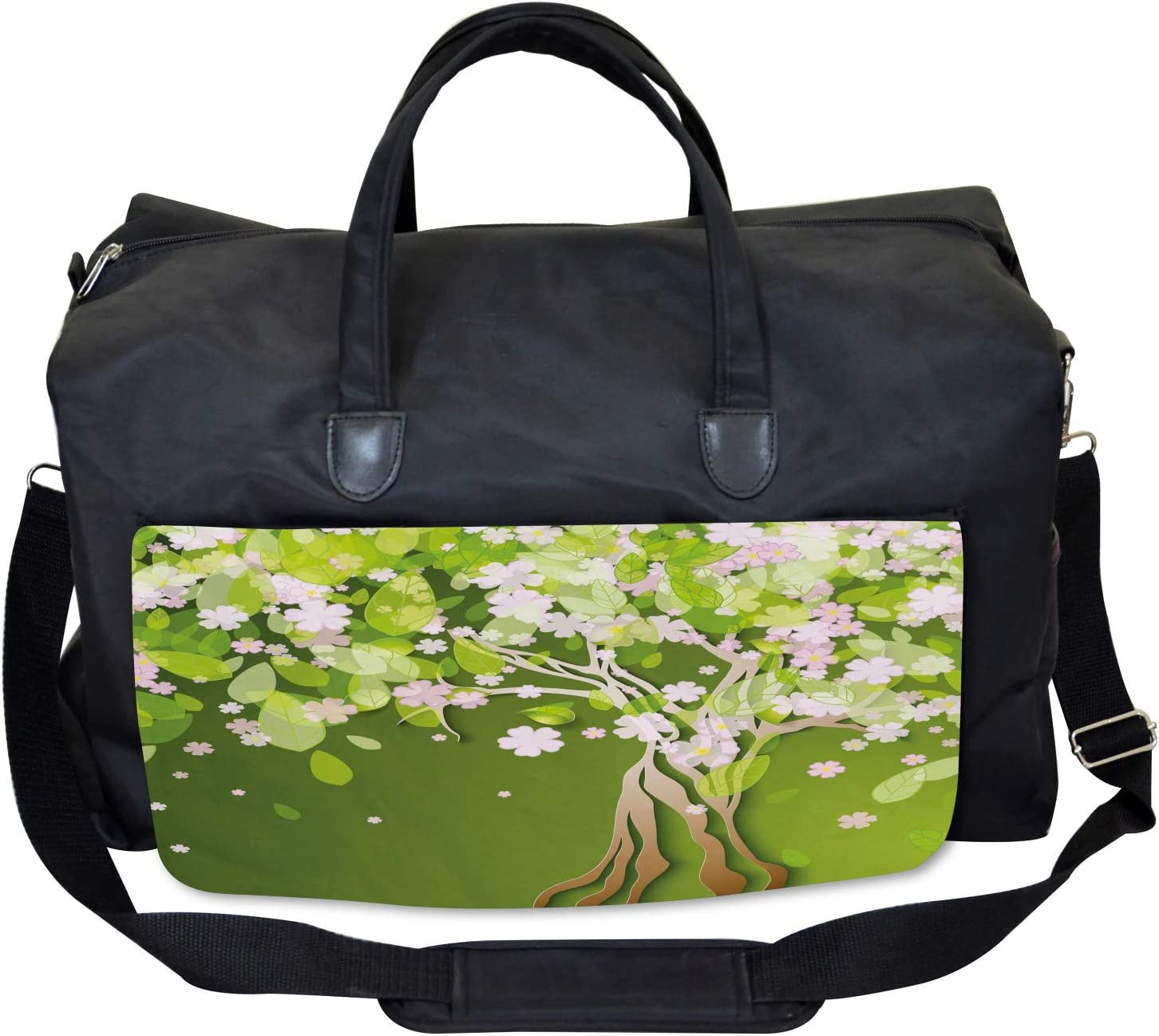 Ambesonne Tree Gym Bag Blossoming Petals Florets Large Weekender Carry-on