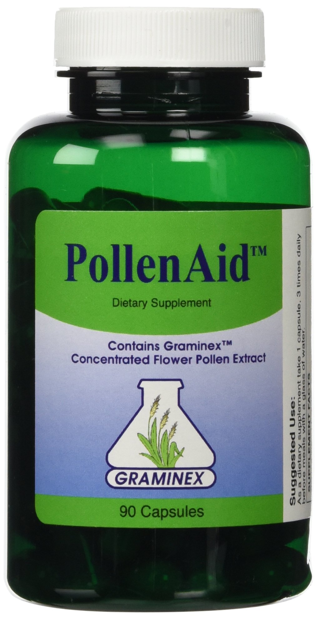 PollenAid Clinical Dosage of Graminex G63 Flower Pollen Extract - Full Spectrum Supplement for Prostate, Liver, Menopausal, and UTI Issues Among Others, 90 Capsules