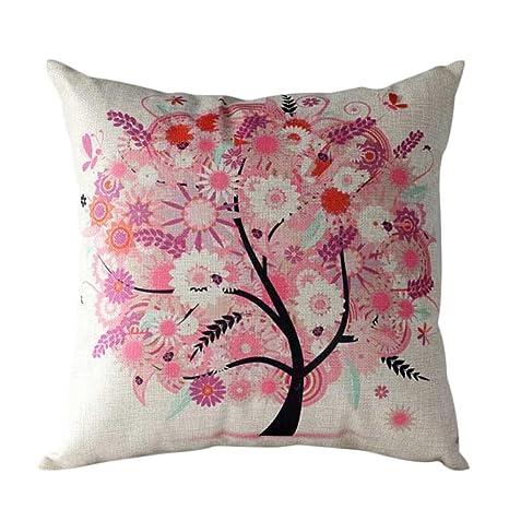Amlaiworld, Funda cojín, Árbol de flores Funda de almohada Funda de cojínes para sofá Cintura Decoración del hogar (45cm*45cm, Rosa)
