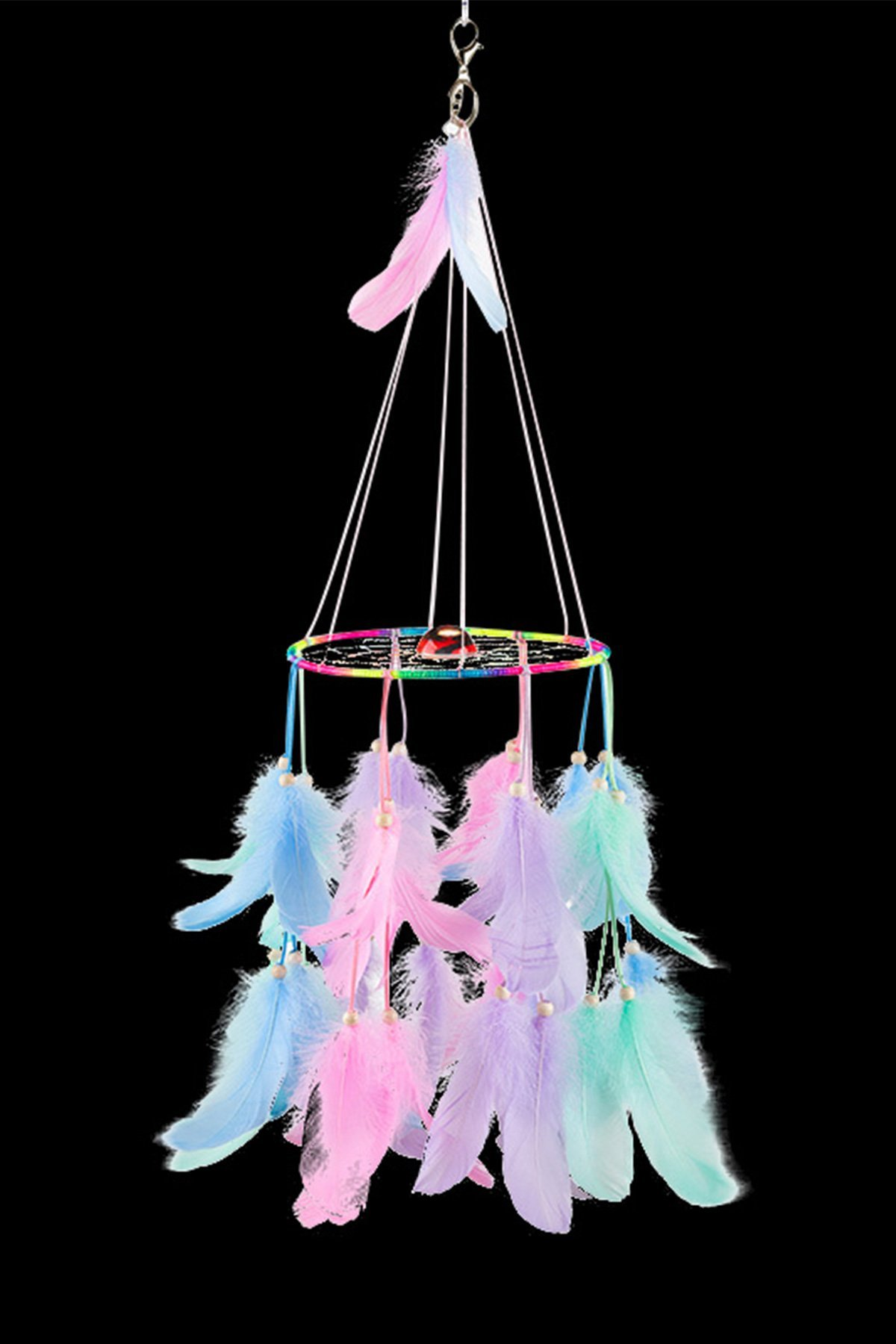 Jescrich Large Handmade Dream Catcher Traditional Dreamcatcher Feather Wall Hanging Ornaments Decoration Gift 39inch Long (Multicolor)