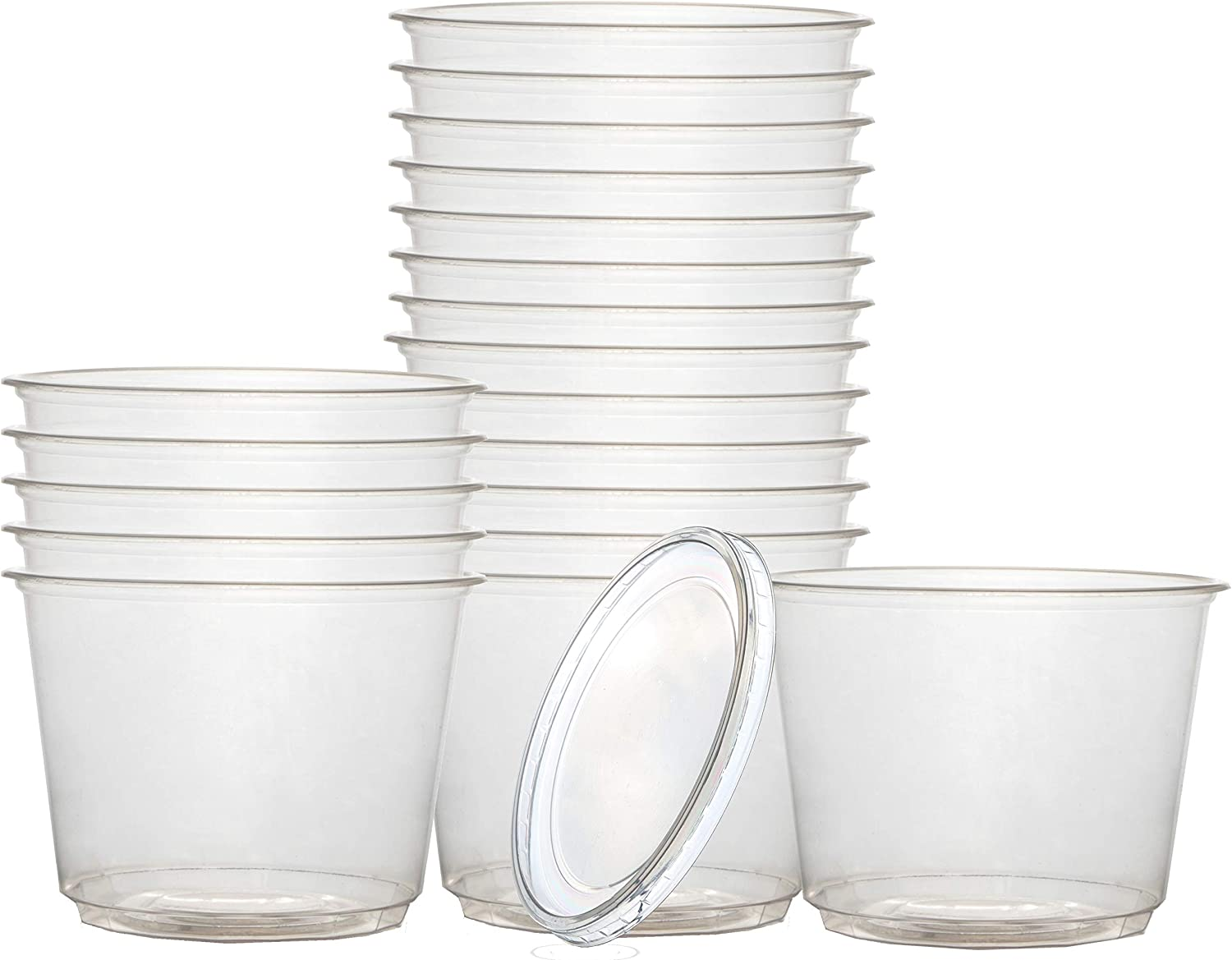 DISPOSABLE 24 Oz. PLASTIC FOOD STORAGE CONTAINERS WITH LIDS – 45 COUNT – BPA FREE – MICROWAVE SAFE – CLEAR DISPOSABLE DELI CONTAINERS – FREEZER MEAL PREP REUSABLE RESTAURANT STORAGE CONTAINERS