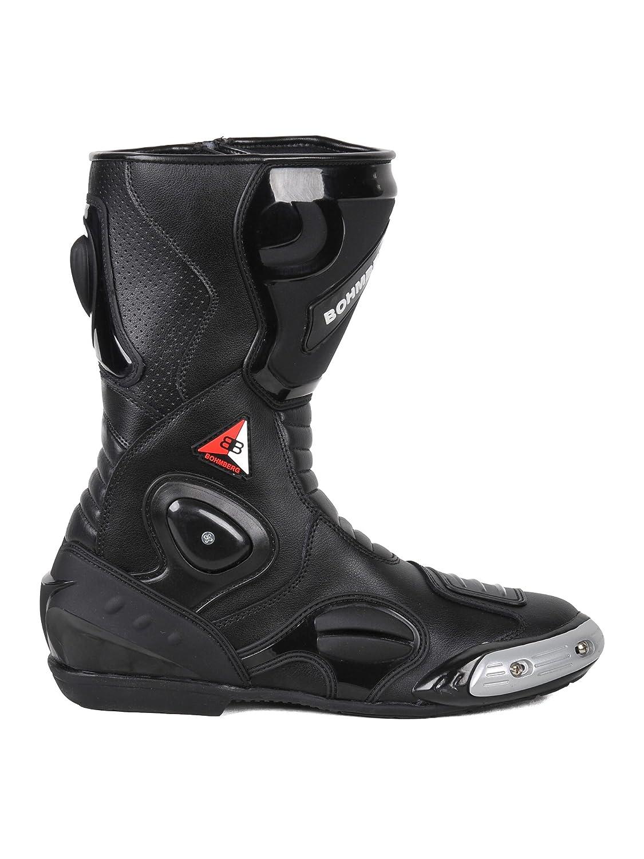 Bohmberg Herren Motorradstiefel Racing Sportstiefel Wasserabweisend aus schwarzem Leder mit aufgesetzten Hartschalenprotektoren,Schwarz-Gr.41