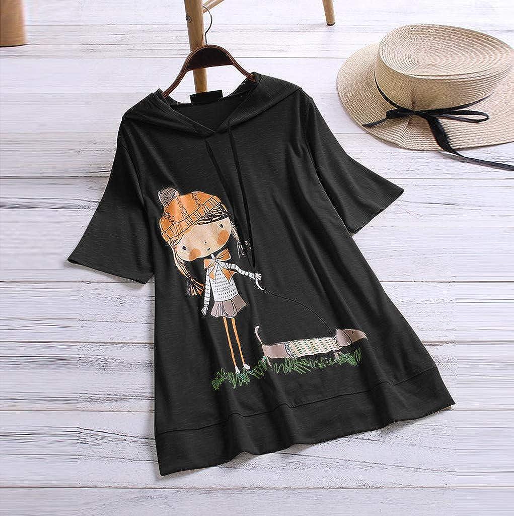 VEMOW Camiseta de Manga Corta con Capucha y Estampado de Dibujos Animados Casual para Mujer tama/ño Extra Top Blusa