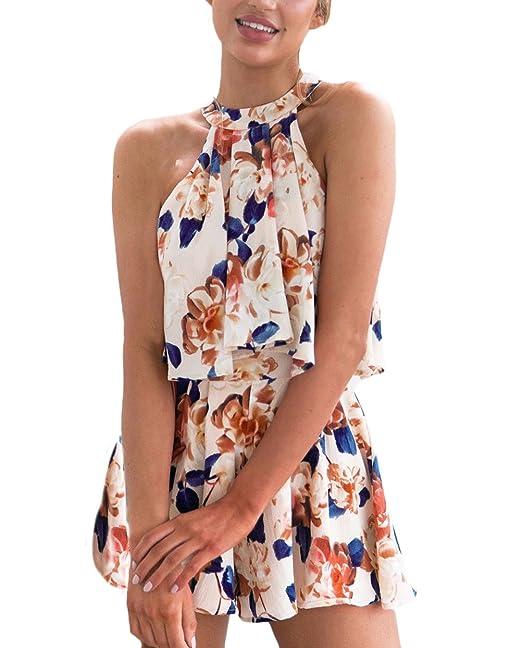 Conjuntos Mujer Elegantes Moda Casual Vintage Hippies Estampado Flores Sin Mangas Crop Tops Y Shorts Pantalones Cortos 2 Piezas Conjunto Ropa Chandal: ...