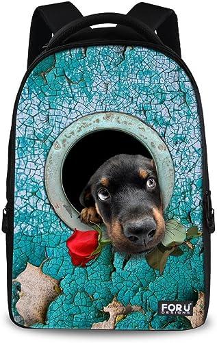 FOR U DESIGNS Funny Rose Dog Printed Outdoor Shoulder Traveling Rucksack Backpack Men