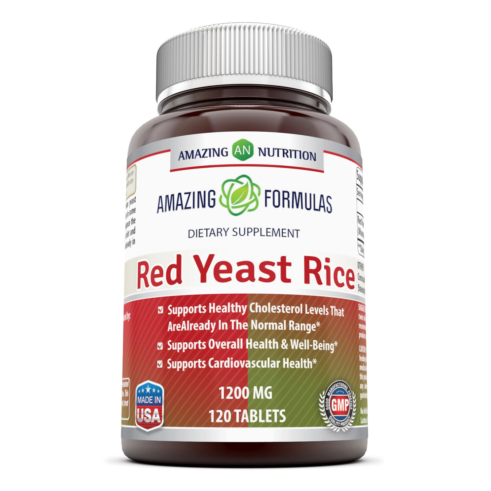 Amazing Formulas Red Yeast Rice Dietary Supplement -1200mgof Best Quality Red Yeast Rice PowderPerServing–Supports Cardiovascular Health- 120Tablets(Non-GMO) Per Bottle