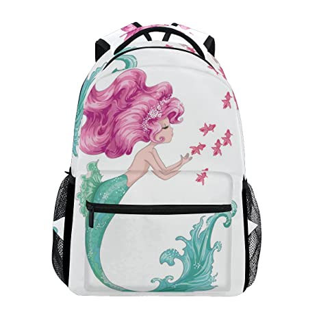 7b6251585711 TropicalLife Mermaid Girl Backpacks Bookbag Shoulder Backpack Hiking Travel  Daypack Casual Bags