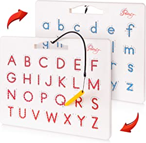 Povitrulya Magnetic Alphabet Tracing Board - double-sided upper & lower case Magnetic Drawing Board, ABC magnets for learn to write with magnetic pen, STEM toy letters learning, good for homeschooling
