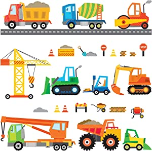 DECOWALL DS-8012 Construction Site Cars Island Kids Wall Stickers Wall Decals Peel and Stick Removable Wall Stickers for Kids Nursery Bedroom Living Room (Small) décor