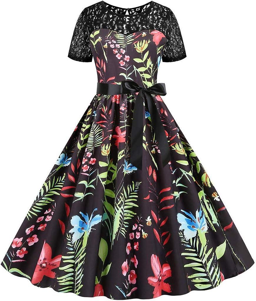 Hffan Damen elegant 50er Jahre Petticoat Kurzarm mit Spitze Kleider Gepunkte Rockabilly Kleider Cocktailkleider