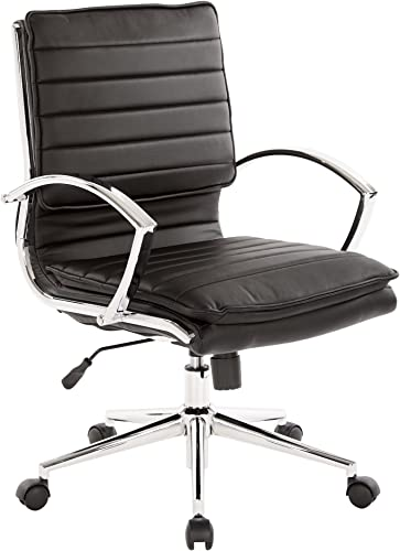 Office Star Faux Leather Mid Back Managers Chair