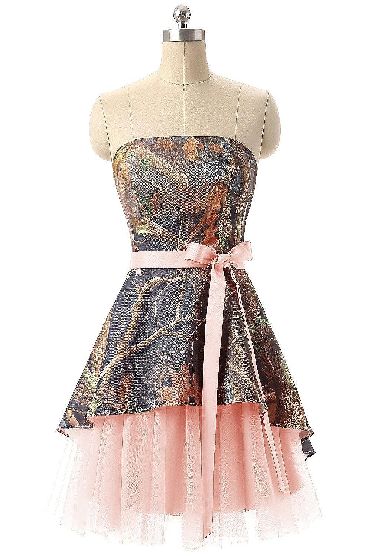 bluesh APXPF Women's Short Strapless Camo Bridesmaid Prom Dress Wedding Party Gown