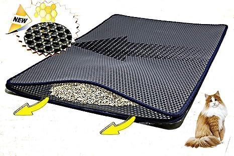 HOLSEM - Alfombrilla para trampa de gato (extra grande, 35 x 23 pulgadas), bandeja de doble capa, ...