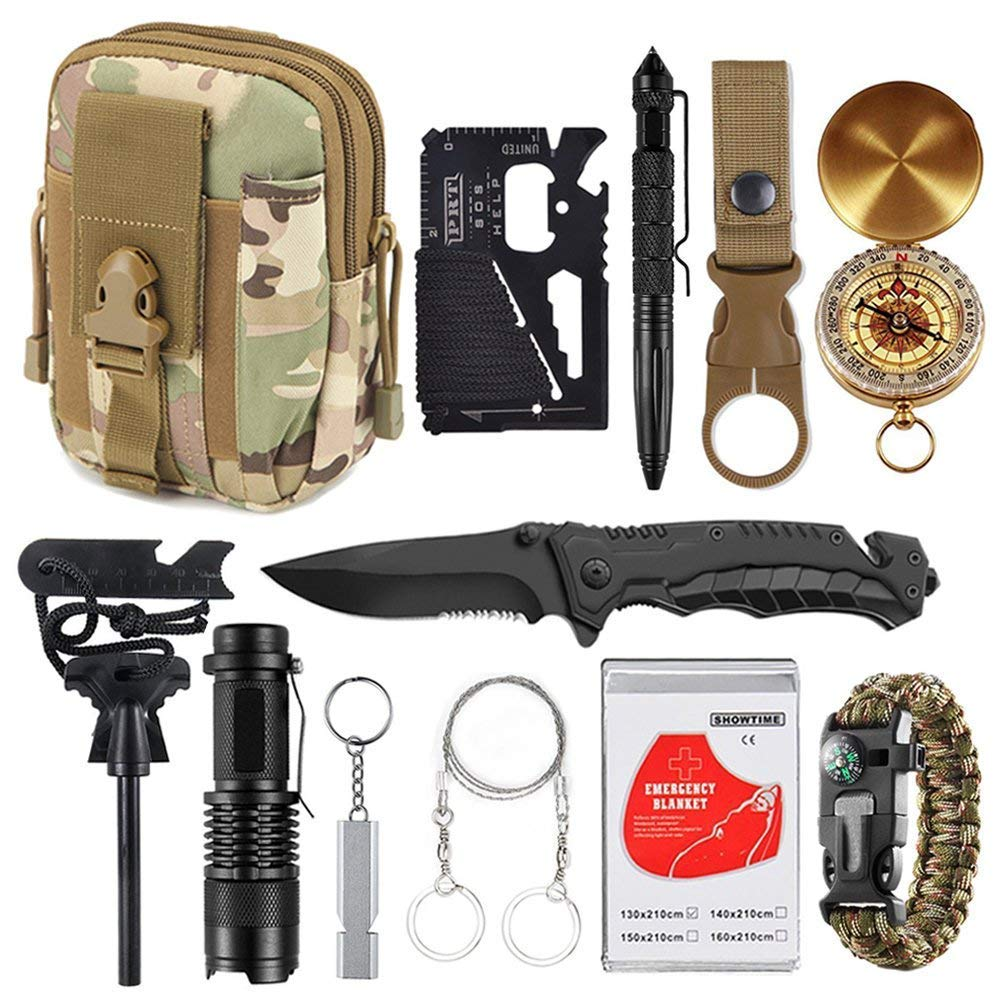 XUANLAN Emergency Survival Kit 12 in 1, Outdoor Survival Gear Tool with Survival Bracelet, Compass, Fire Starter, Whistle for Camping, Hiking, Climbing
