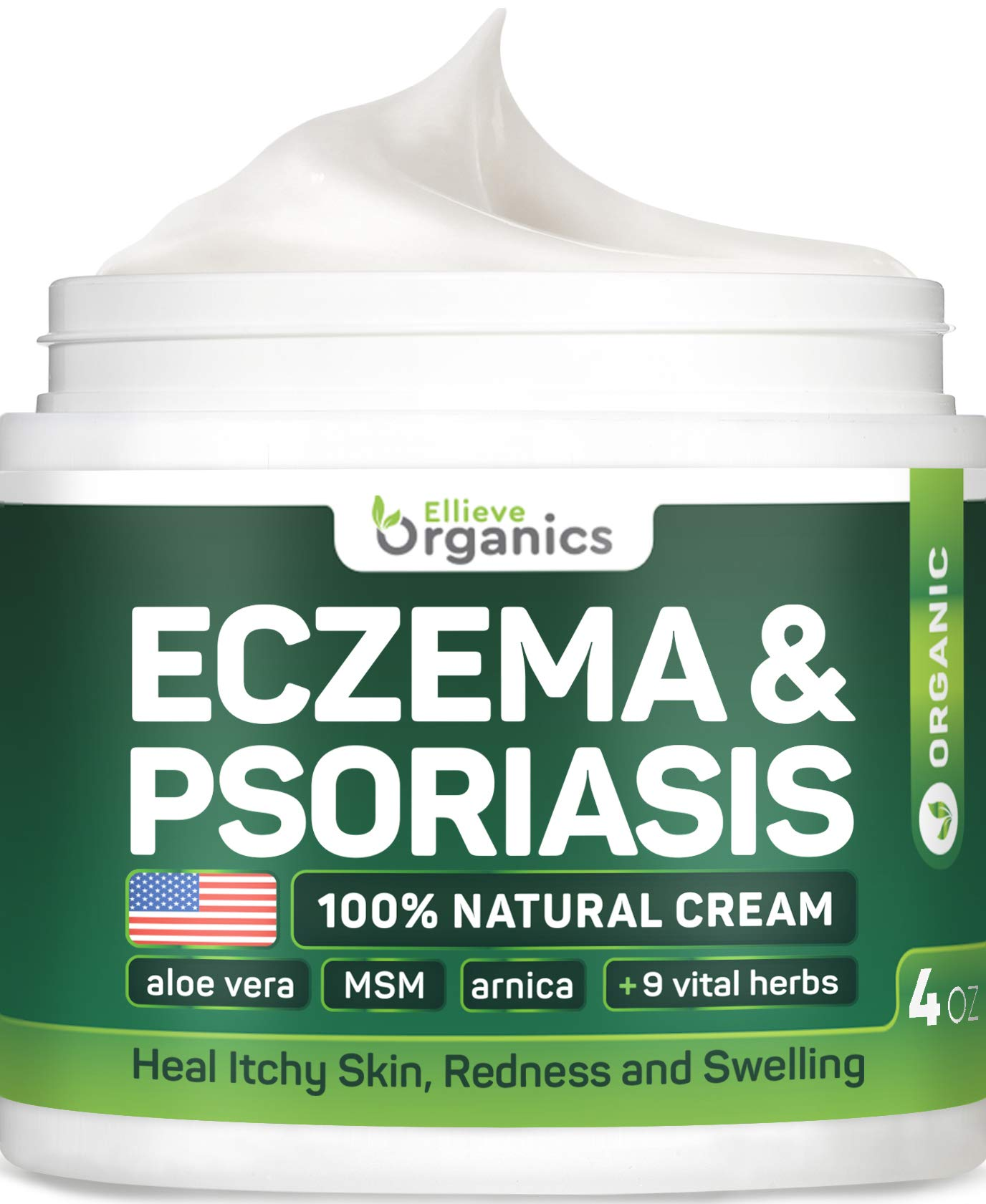 Eczema Cream Moisturizer - Maximum Strength Eczema Therapy with Honey & MSM - Made in USA - Natural Treatment for Eczema Dermatitis, Psoriasis, Rosacea Relief - Allergen-Tested, Steroid-Free - 4 OZ by ELLIEVE Organics