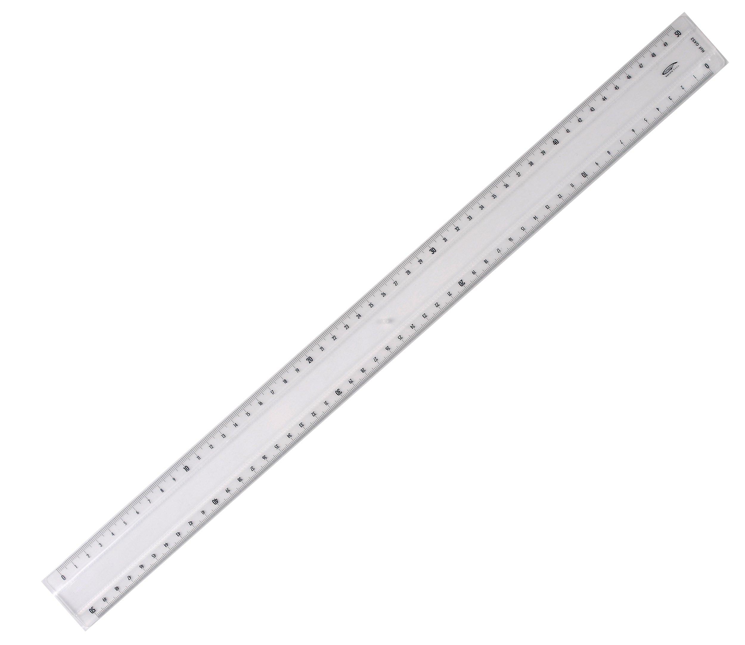 Graphoplex Protractor Ruler 2 facets Bump 50 cm Transparent